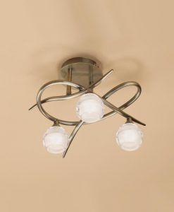 Plafón cuero pequeño LOOP 3 luces