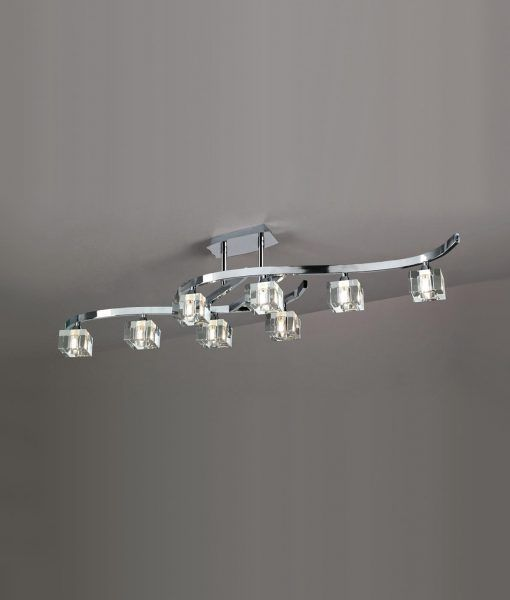 Plafón grande cromo cristal CUADRAX 8 luces