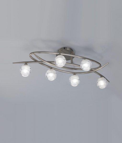 Plafón níquel grande LOOP 6 luces