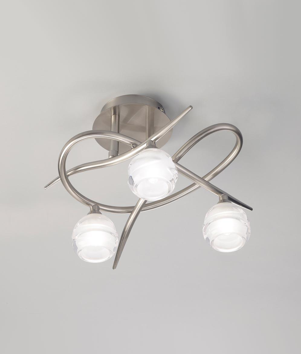 Plafón níquel pequeño LOOP 3 luces