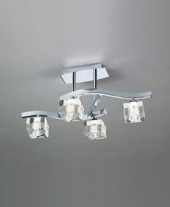 Plafón pequeño cromo cristal CUADRAX 4 luces