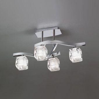 Plafón pequeño cromo CUADRAX 4 luces