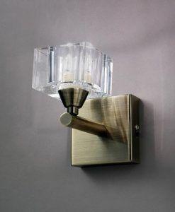 Aplique pequeño cuero cristal CUADRAX 1 luz