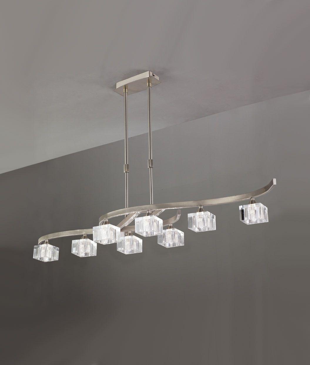 Lámpara grande níquel cristal CUADRAX 8 luces