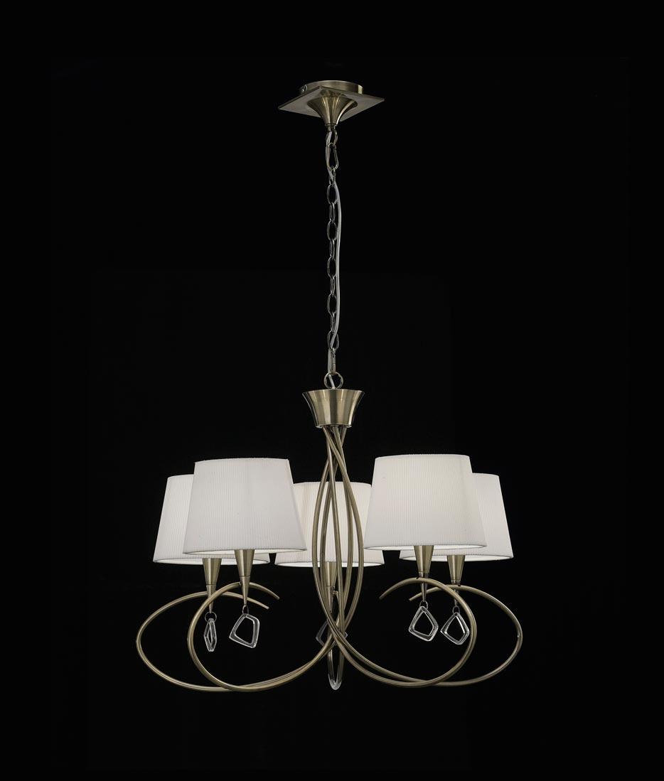 Lámpara mediana cuero MARA 5 luces