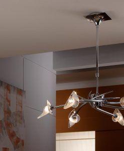 Lámpara pequeña cromo FLAVIA 6 luces ambiente