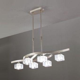 Lámpara pequeña níquel cristal CUADRAX 6 luces