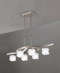 Lámpara pequeña níquel CUADRAX 6 luces