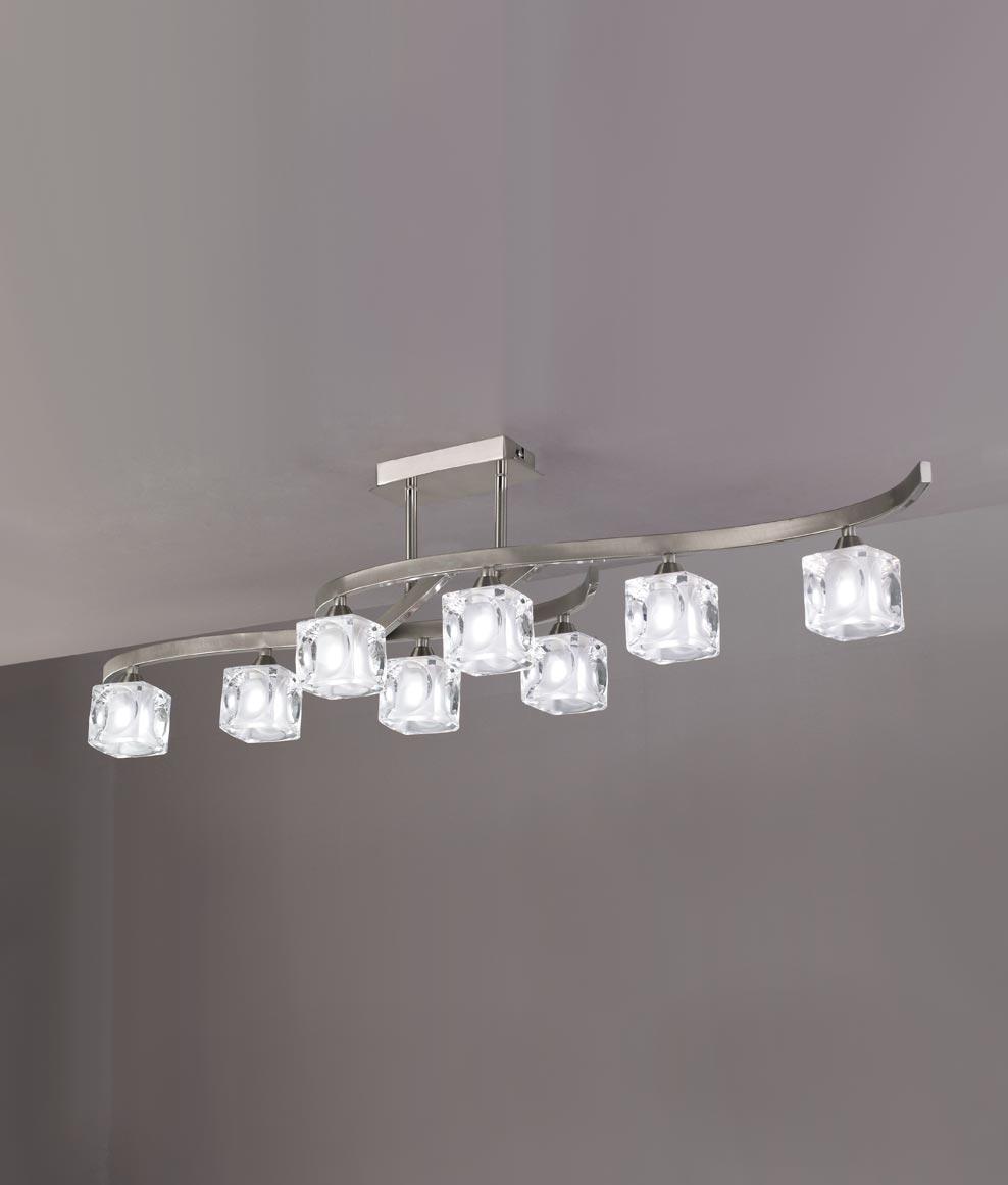 Plafón grande níquel CUADRAX 8 luces
