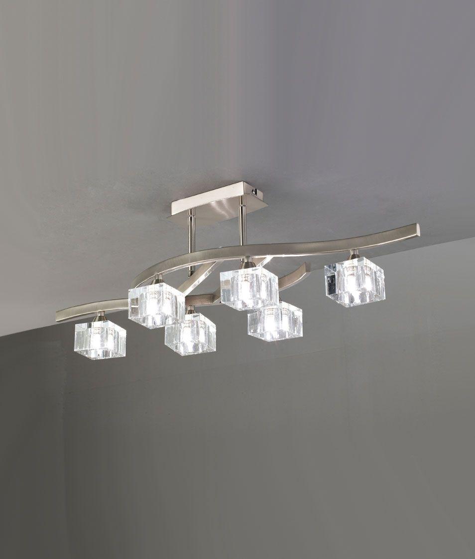 Plafón mediano níquel cristal CUADRAX 6 luces