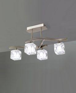 Plafón pequeño níquel CUADRAX 4 luces