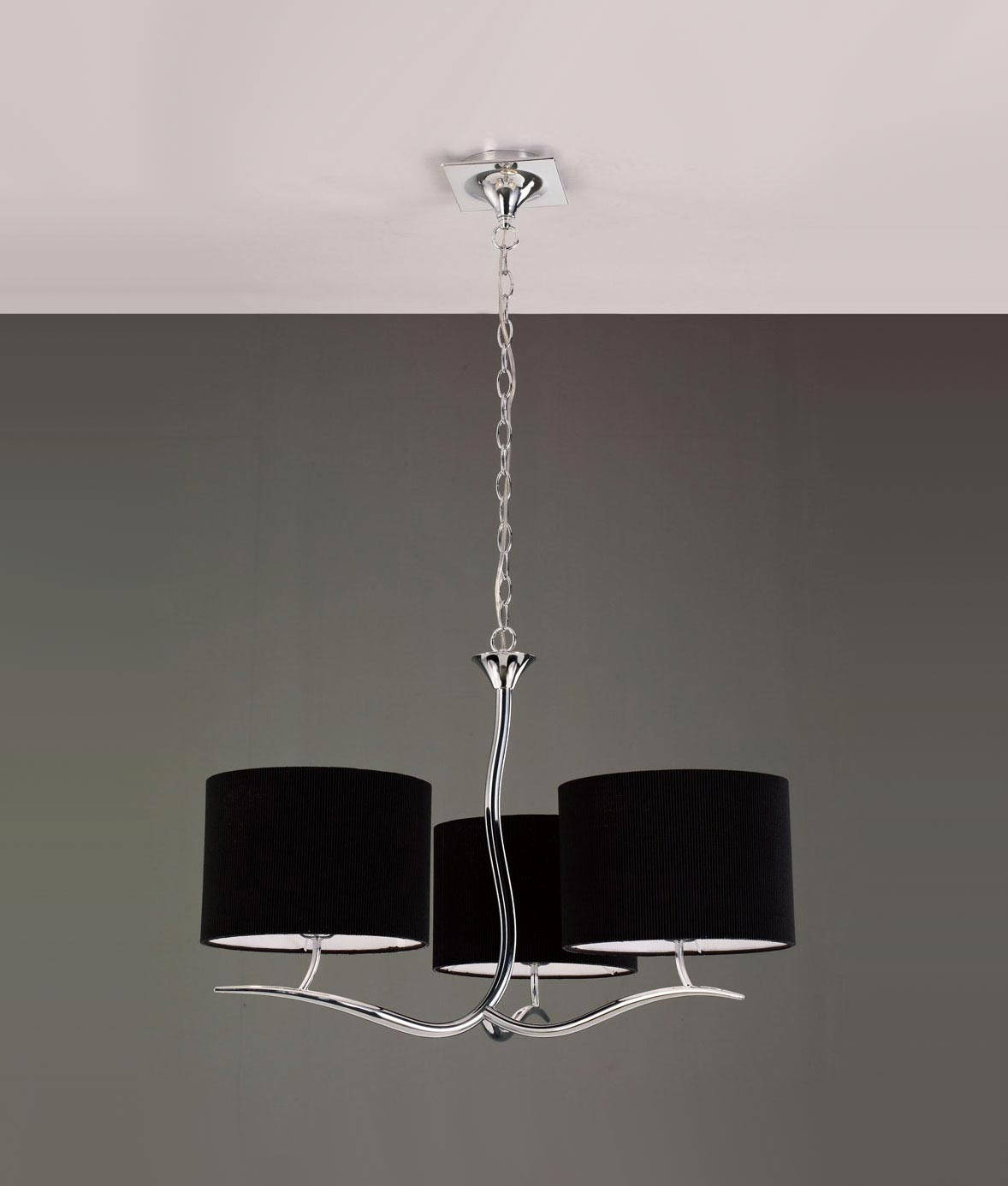 Lámpara cromo negro 3 luces EVE