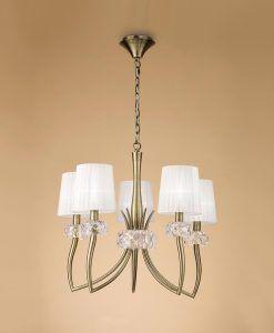 Lámpara cuero 5 luces LOEWE