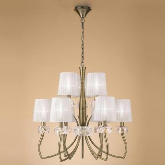Lámpara cuero 9 luces LOEWE