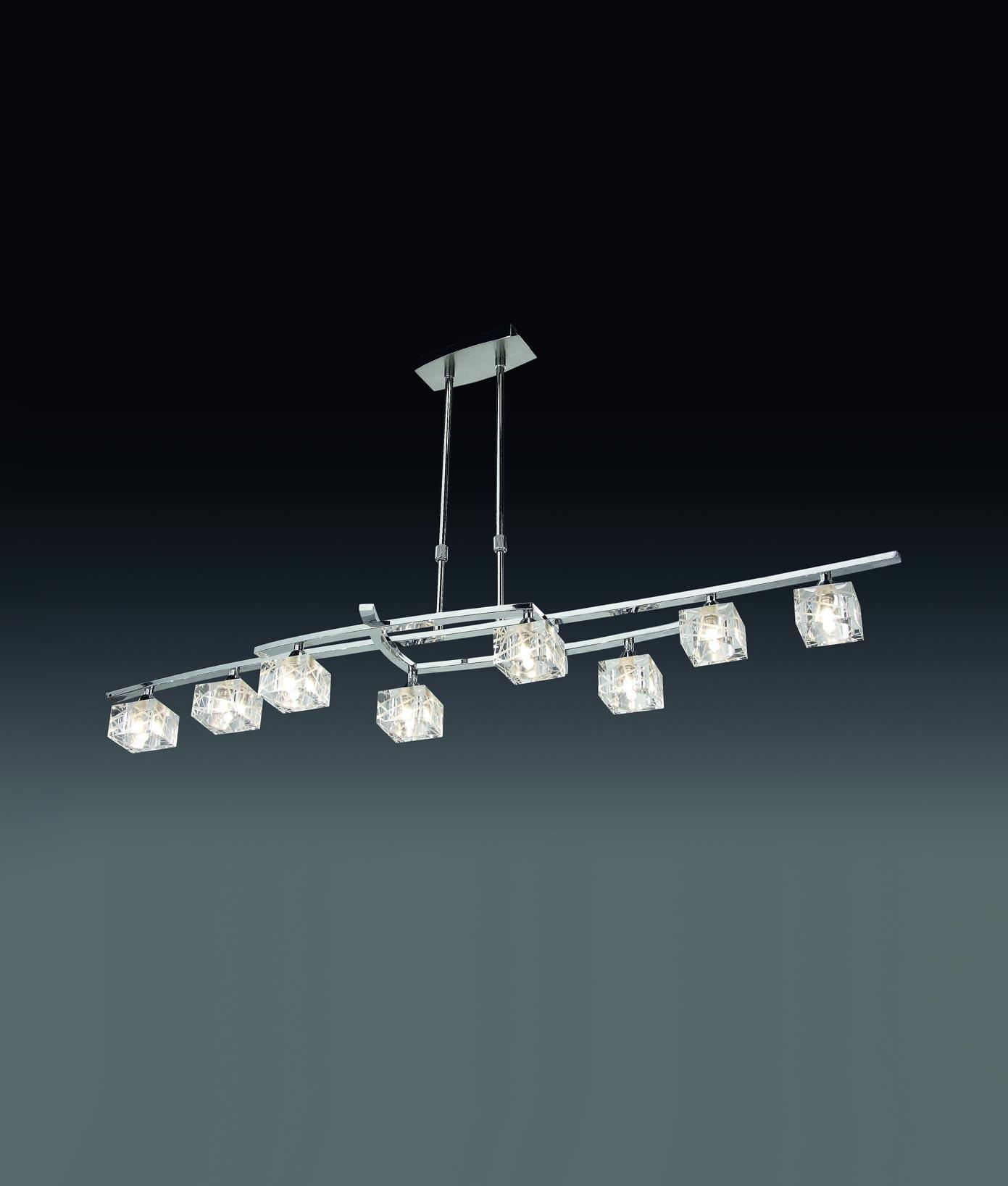 Lámpara grande cromo ZEN 8 luces