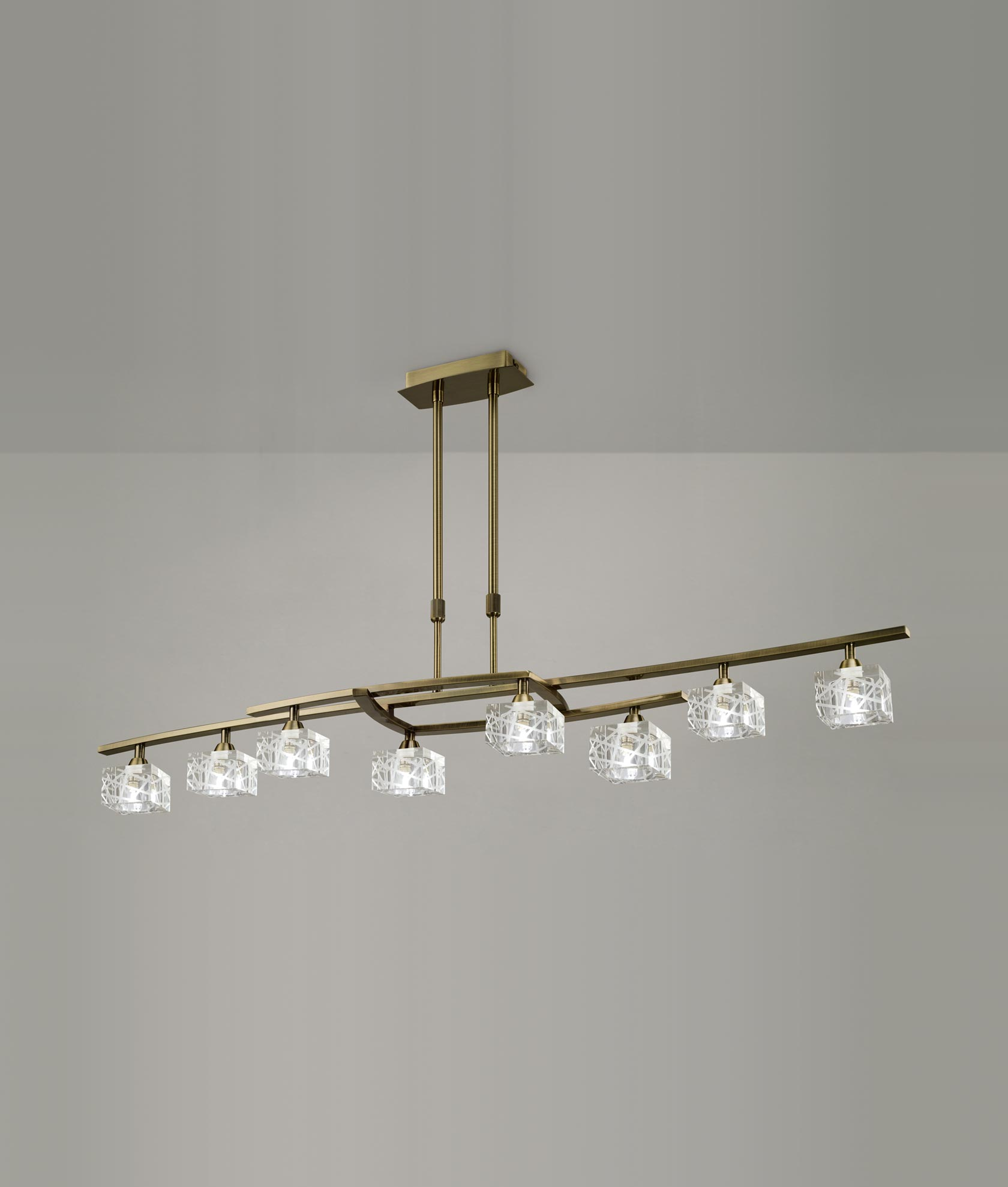 Lámpara grande cuero ZEN 8 luces