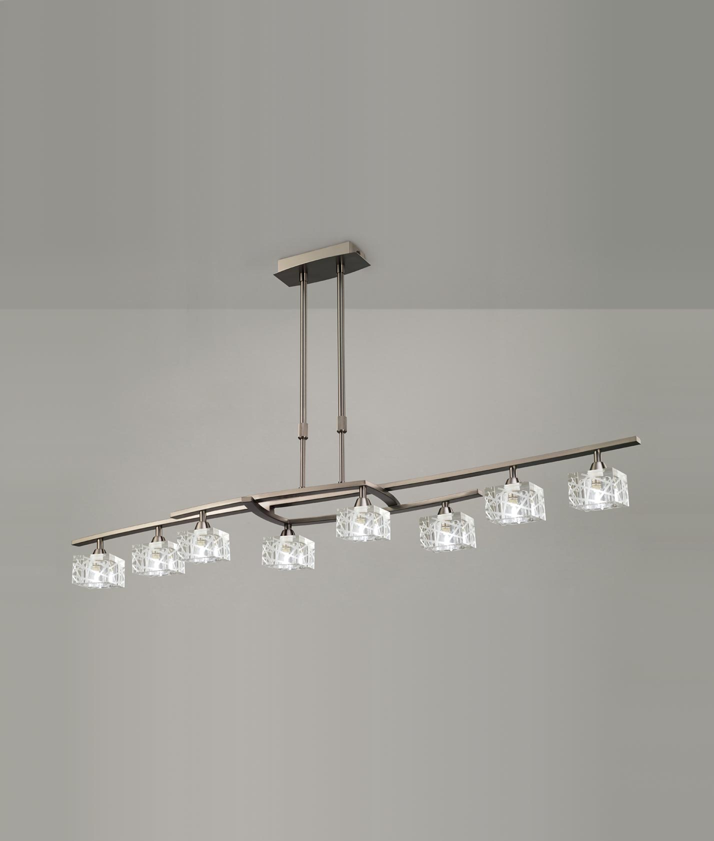 Lámpara grande níquel ZEN 8 luces