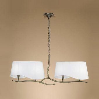 Lámpara lineal cuero blanco NINETTE 4 luces