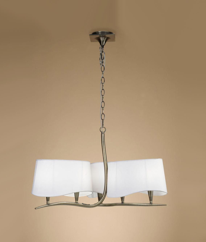 Lámpara cuero blanco NINETTE 6 luces