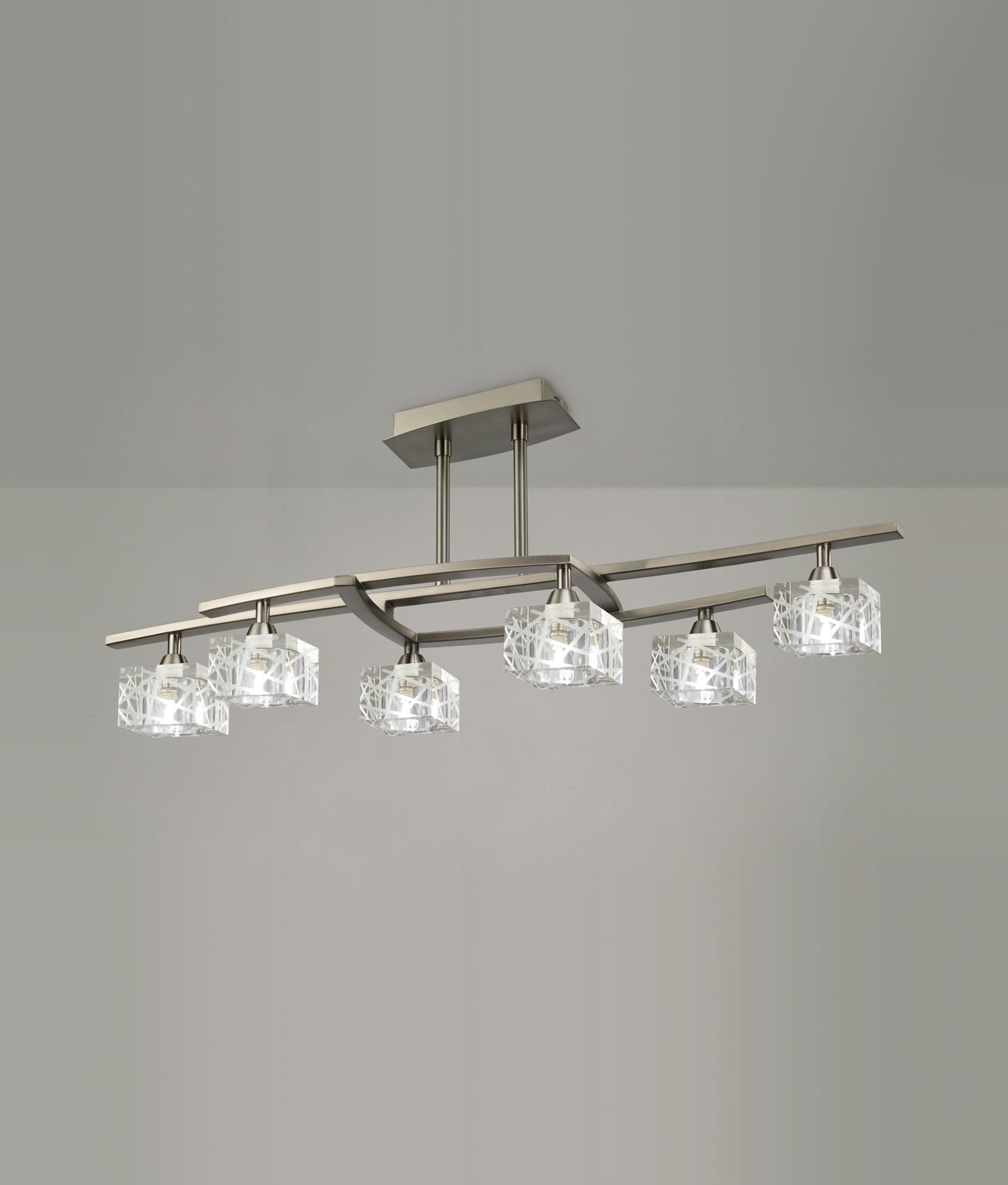 Plafón mediano níquel ZEN 6 luces
