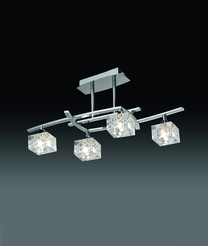 Plafón pequeño cromo ZEN 4 luces