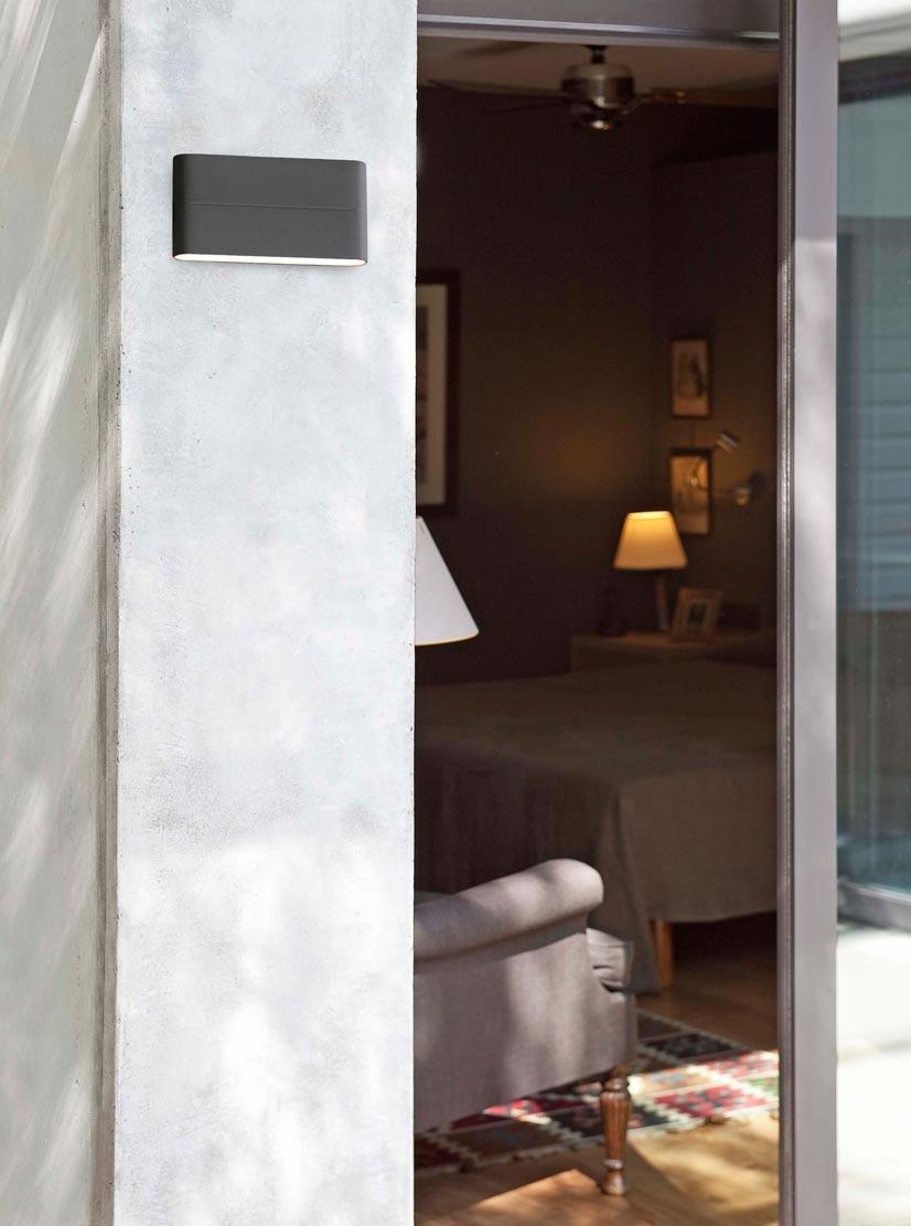 Aplique de pared LED gris ADAY ambiente
