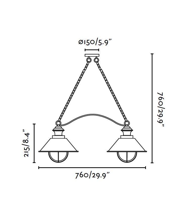 Colgante marrón 2 luces lineal NÁUTICA medidas