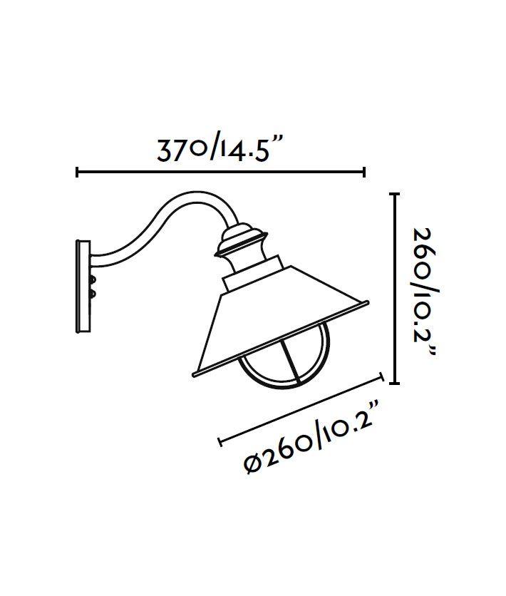Lámpara aplique marrón óxido NÁUTICA medidas