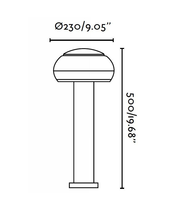 Lámpara baliza BOLETUS gris oscuro medidas