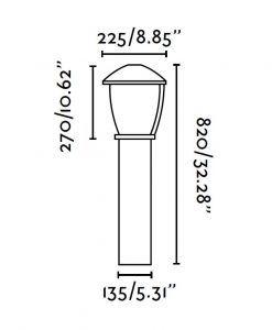 Lámpara baliza grande WILMA gris oscuro medidas