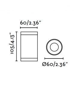 Lampara plafón blanco OLOT medidas