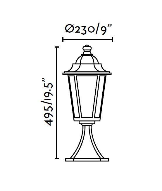 Lámpara sobremuro PARIS negro medidas