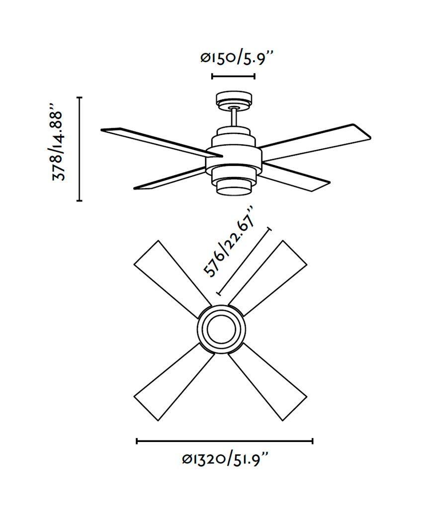 Ventilador blanco DISC FAN LED medidas