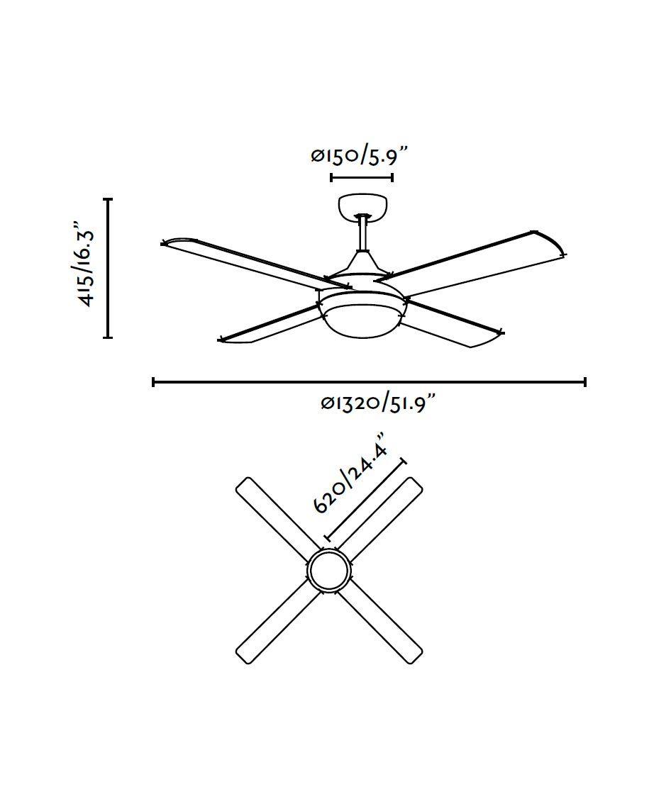 Ventilador de techo aluminio ICARIA medidas