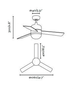 Ventilador de techo blanco CEBU medidas