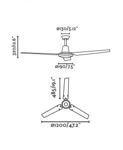 Ventilador de techo blanco ECO INDUS medidas