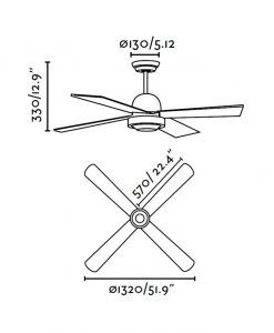 Ventilador de techo blanco IBIZA medidas
