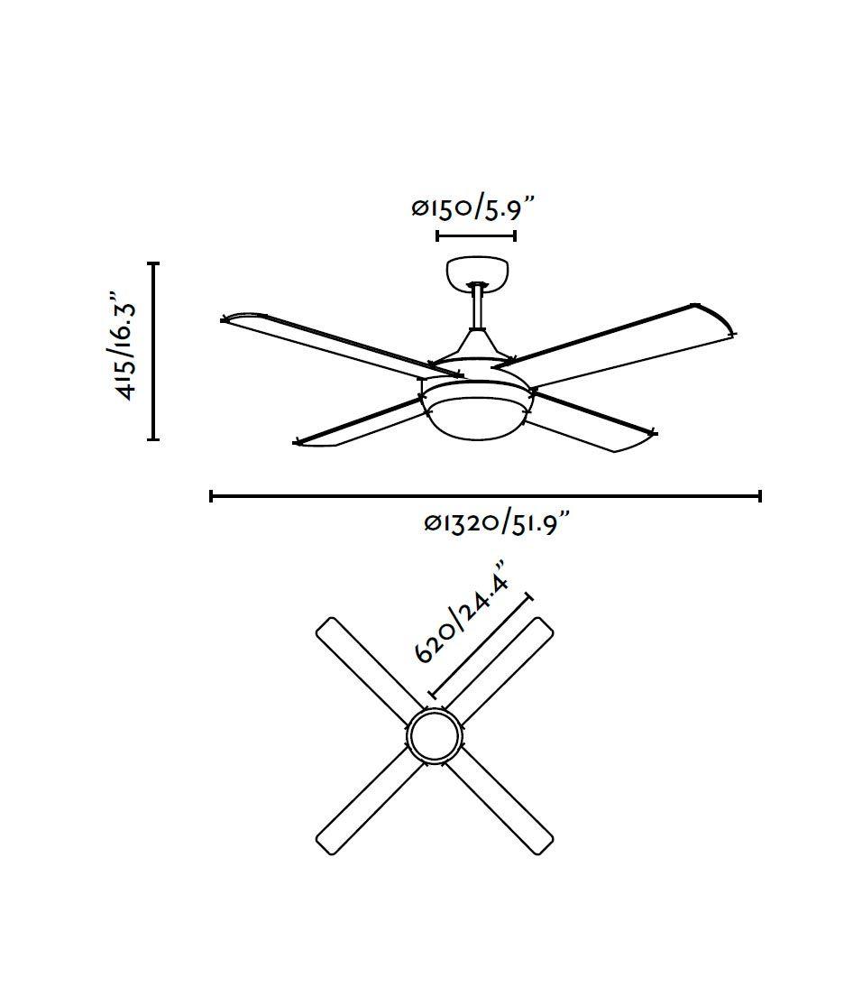 Ventilador de techo blanco ICARIA medidas