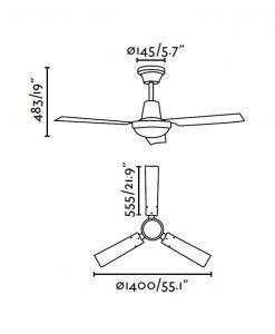 Ventilador de techo blanco INDUS medidas