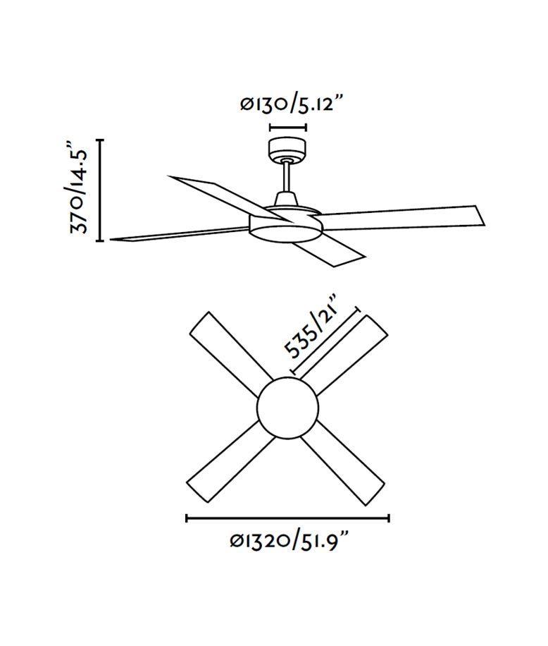 Ventilador de techo blanco MALLORCA medidas