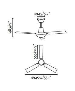 Ventilador de techo cromo INDUS medidas