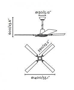 Ventilador de techo gris MALVINAS medidas