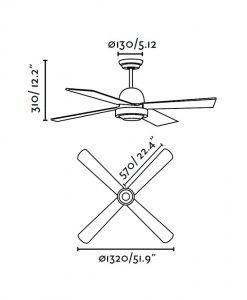 Ventilador de techo marrón IBIZA medidas