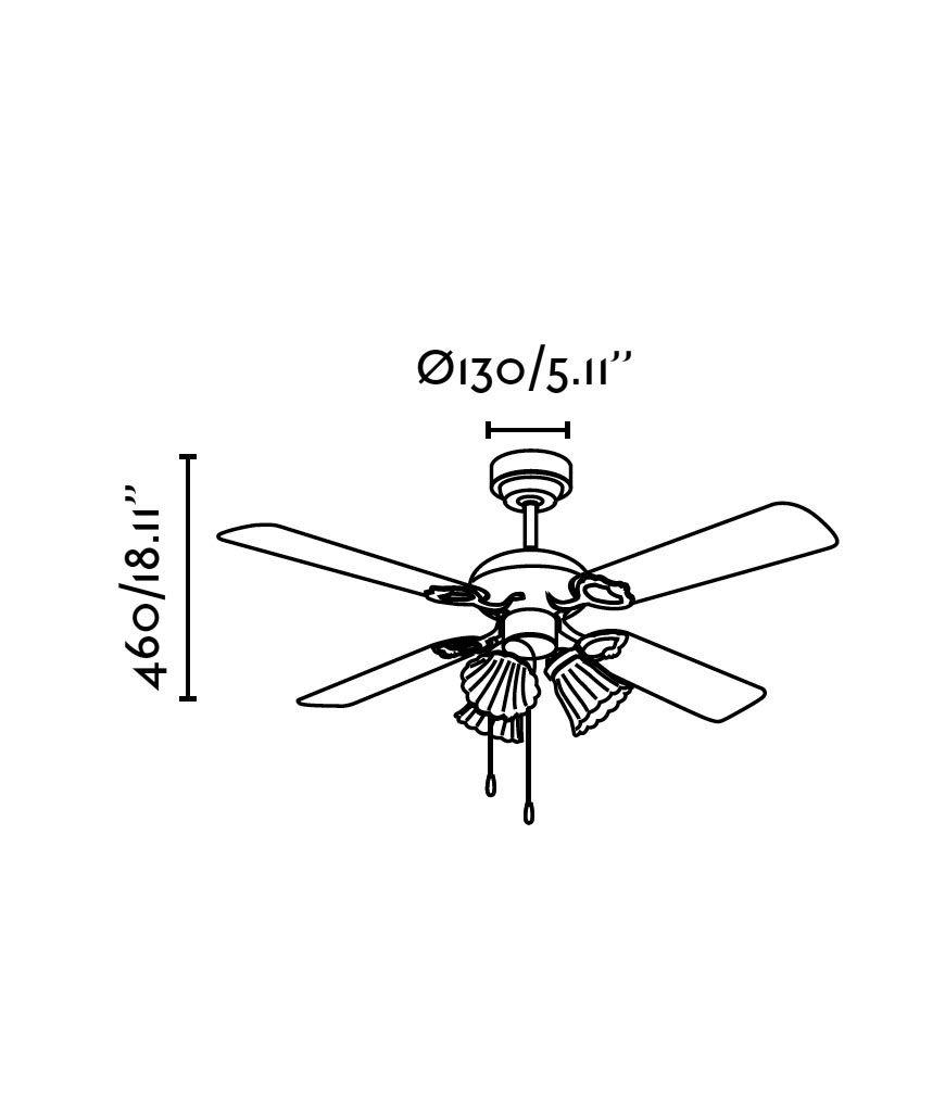 Ventilador de techo marrón LISBOA medidas