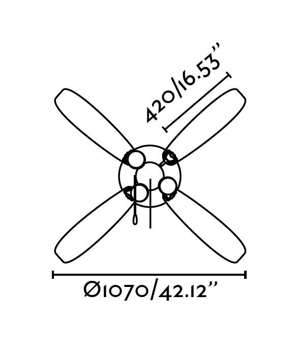 Ventilador de techo marrón LISBOA medidas 2