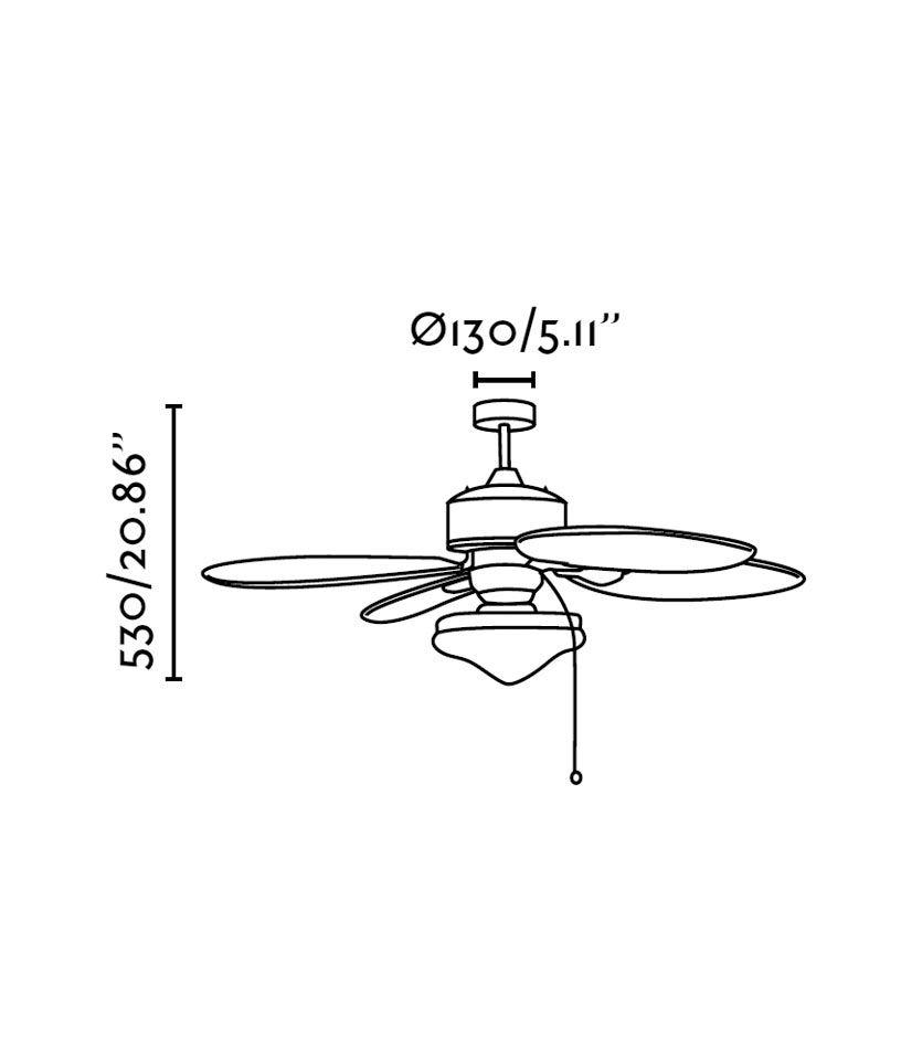 Ventilador de techo marrón LOMBOK medidas