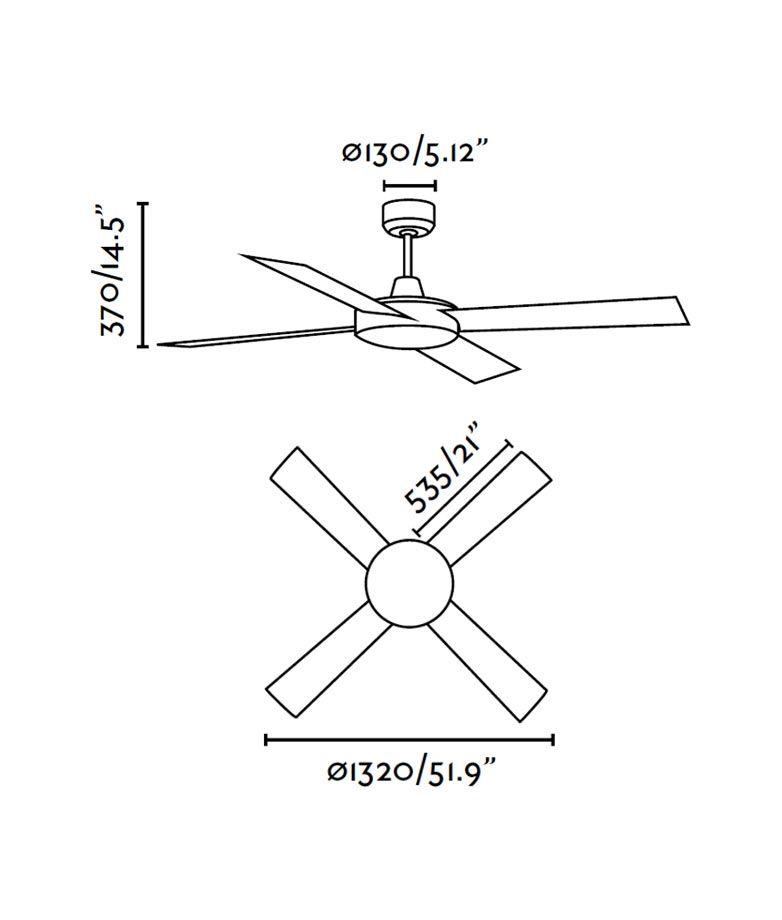 Ventilador de techo marrón MALLORCA medidas