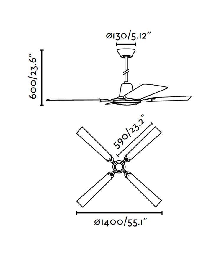 Ventilador de techo marrón MALVINAS medidas