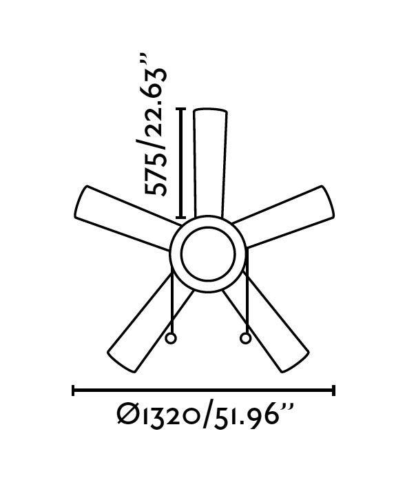 Ventilador de techo marrón MANILA medidas 2