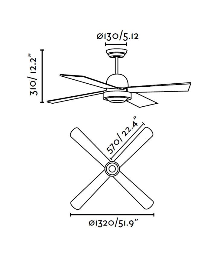 Ventilador de techo níquel IBIZA medidas